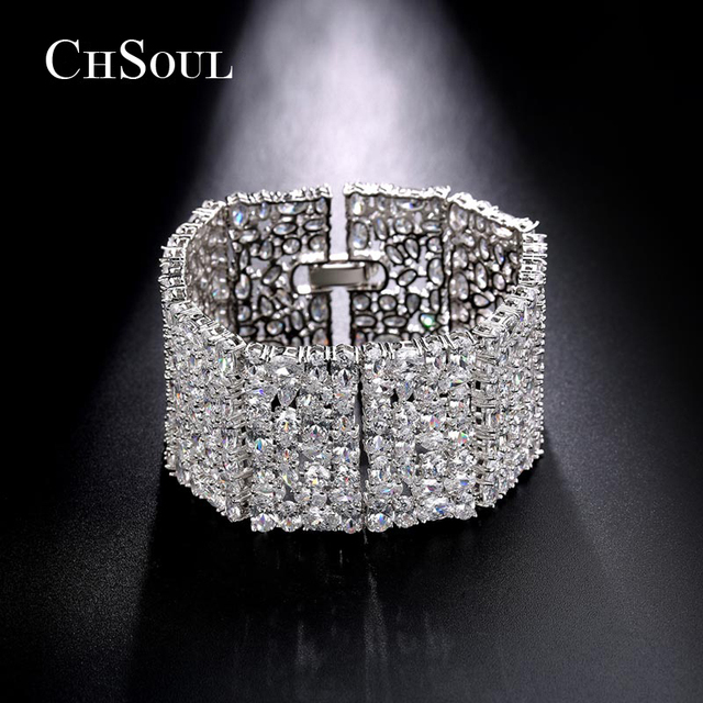 CHSOUL Charms Statement Cuff Bracelets & Bangles Paved Full AAA+ CZ Diamond Sparkling European Punk Style Love Gifts Top Quailty
