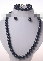 stunning big round black freshwater pearl necklace bracelet earrings jewelry set