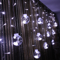 Crystal Wish Ball Fairy String Light 2.5M 108 LED Curtain Light Indoor Outdoor Xmas Party Garden Festival Decoration lights