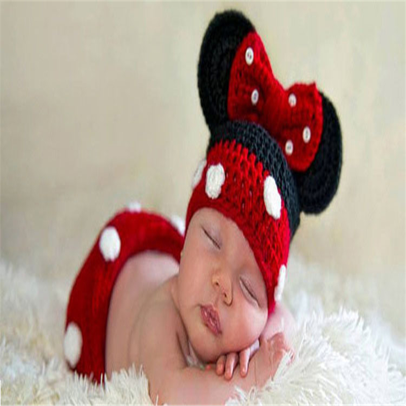 Newborn Minnie Crochet Outfit Baby Knitted Beanie & Skirts Set Toddler Photography Props Baby Girl Gift