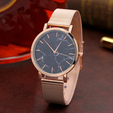 Fashion Watch Women Marble Surface Stainless Steel Band Quartz Movement