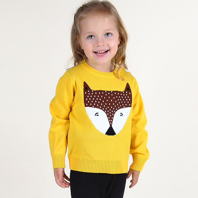 2016 Autumn Winter Kids Sweaters Children's Clothing Baby Girls and Boys Cute Fox Pattern Sweater Casual Knit Pullover H337