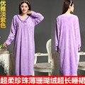 Envío libre la Primavera y el otoño suelta más la ropa de dormir de manga larga bata de coral polar camisón de mujer princesa derlook