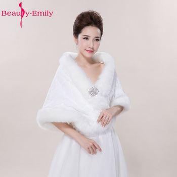 Beauty Emily Winter Wedding Shawl For Bride White Fax Fur Wedding ...