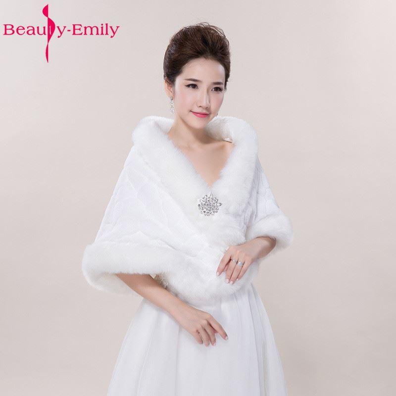 Winter Wedding Shawl For Bride White Fax Fur Wedding Wrap  Cape With Crystals Bridal Jackets Wedding CoatsWedding Jackets / Wrap   -