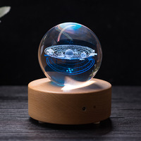 80mm Galaxy Solar System Crystal Ball With Wooden Bluetooth Music Box Moon Elk Crystal Sphere Xmas Gift Decorative Accessories