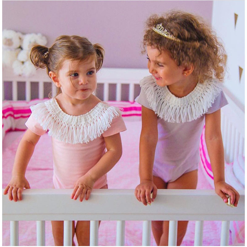 CN Zomer Babymeisje Rompertjes Kwastje Roze Dames baby Jumpsuit 0-2 - Babykleding - Foto 3