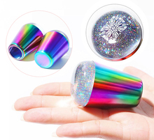 1PC 4cm Rainbow handle Nail Art Stamper 3Colors Laser Black &Clear Silicone Head FOR Stamping Plate Printing Templates