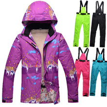 New brand  Skiing Snowboarding women ski clothes plus Thick Velvet  Female Ski suit Warm Wind and Waterproof  Skiing Jackets