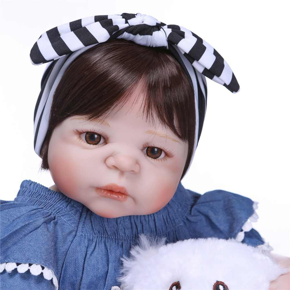 NPK 57 เซนติเมตรซิลิโคนเกิดใหม่ตุ๊กตาทารกตุ๊กตาไวนิลที่ทำด้วยมือน่ารักเหมือนจริงเด็กวัยหัดเดิน Bebe อย่างแท้จริงเด็กของเล่นของเล่น