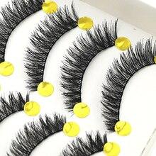 2015 New 10 Pairs Handmade Long Thick Cross False Eyelashes Makeup Eye Lashes Extension 6FC2