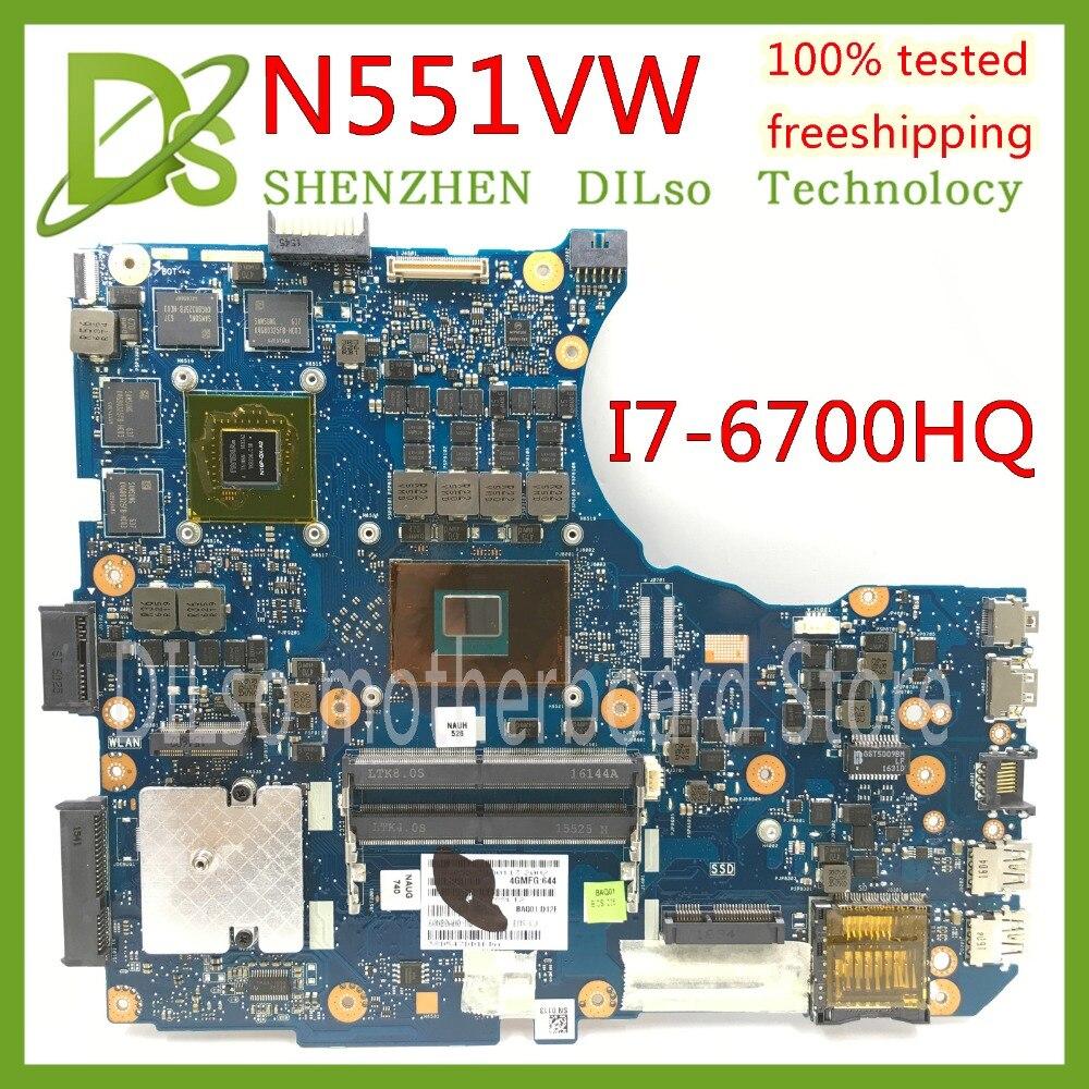 KEFU N551VW Pour ASUS N551V G551V FX551V G551VW FX51VW N551VW Mère D'ordinateur Portable I7-6700HQ CPU carte mère Test travail 100%