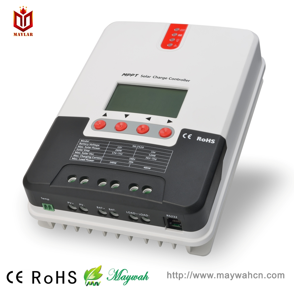 12V/24V Auto recognization Solar Charge Controller 20A MPPT Mode with Digital Screen Solar Home System