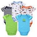 5 pçs/lote Romper Do Bebê Desgaste Do Bebê Macacão de Manga Curta 100% Algodão Do Bebê Recém-nascido Da Menina do Menino Roupas Bebe Roupas Ternos Do Corpo