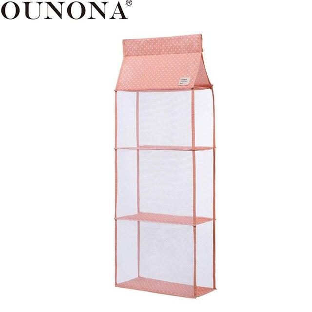 Ounona 3 Layers Home Hanging Clothes Storage Box Shelves Closet Cubby Sweater Handbag Organizer For