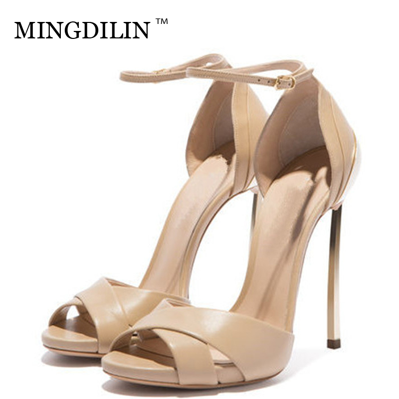 MINGDILIN Summer Women's Peep Toe Heels Sandals Sexy Plus Size 33 43 High Heels Woman Shoes Zapatos Mujer Women's Heels Sandals цена