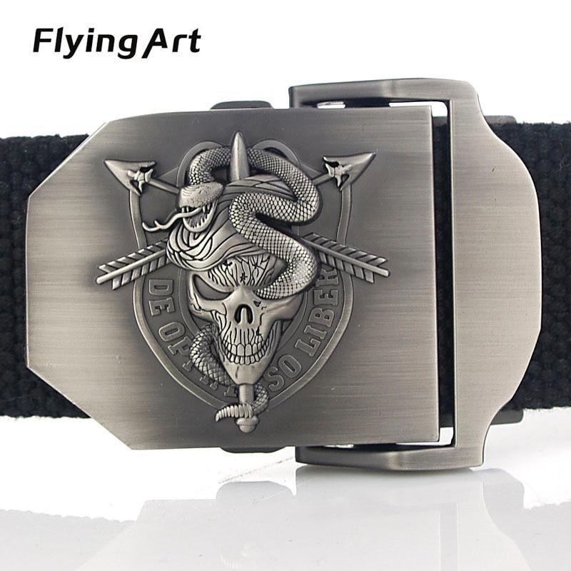Terbang Art Unisex Skeleton snake kepribadian kanvas sabuk Sabuk - Aksesori pakaian - Foto 2
