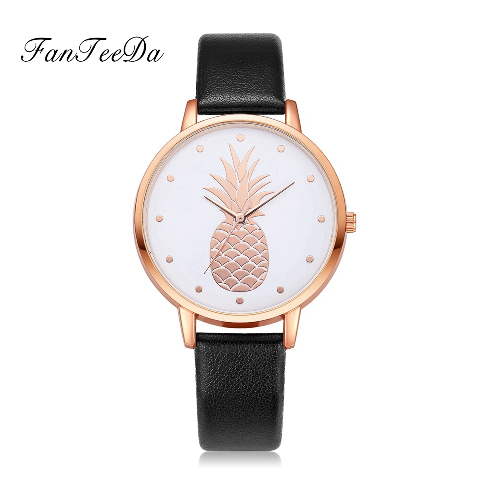 Fanteeda Top Luxury Brand Watches Women Rose Gold Dial Leather Watch Ladies Pineapple Sport Quartz Wristwatch Gift Relogio FD123