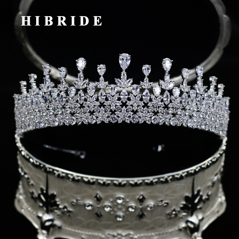 HIBRIDE Luxury Water Drop Cubic Zircon King Crown Women Wedding Hair Accessories Jewelry For Party Birthday