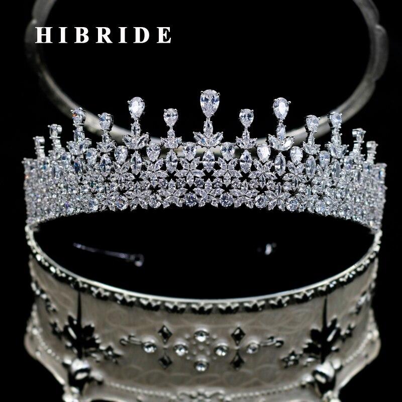 Takı ve Aksesuarları'ten Saç Takısı'de HIBRIDE Lüks Su Damlası Kübik Zirkon Kral Taç Kadınlar Düğün saç aksesuarları Takı Için Parti Doğum Günü Hediyeleri C 113'da  Grup 1