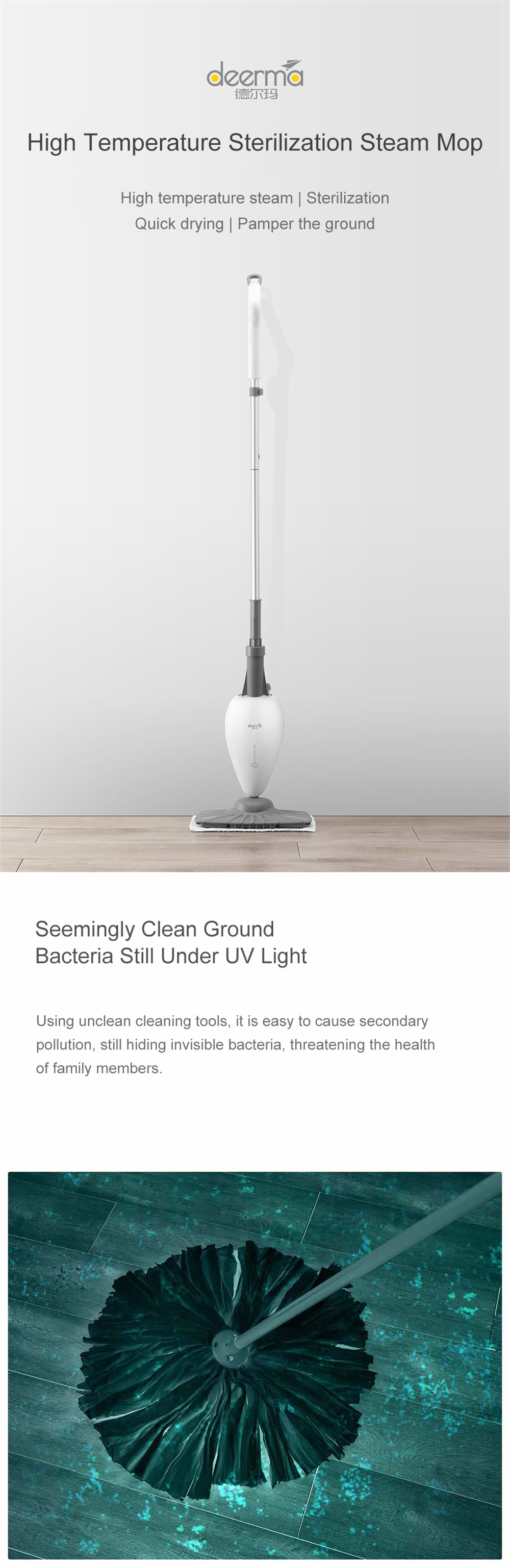 Original Xiaomi Mijia Deerma High Temperature Steam Mop Sterilization Mop Deodorization Decontamination Odour Removal  Cleaner