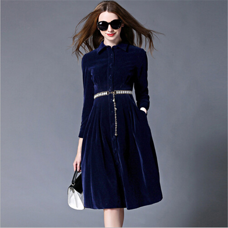 Velvet Women Autumn Winter Dress 2019 Fashion Soft Knee Length Female Dresses With Belt Full Sleeve