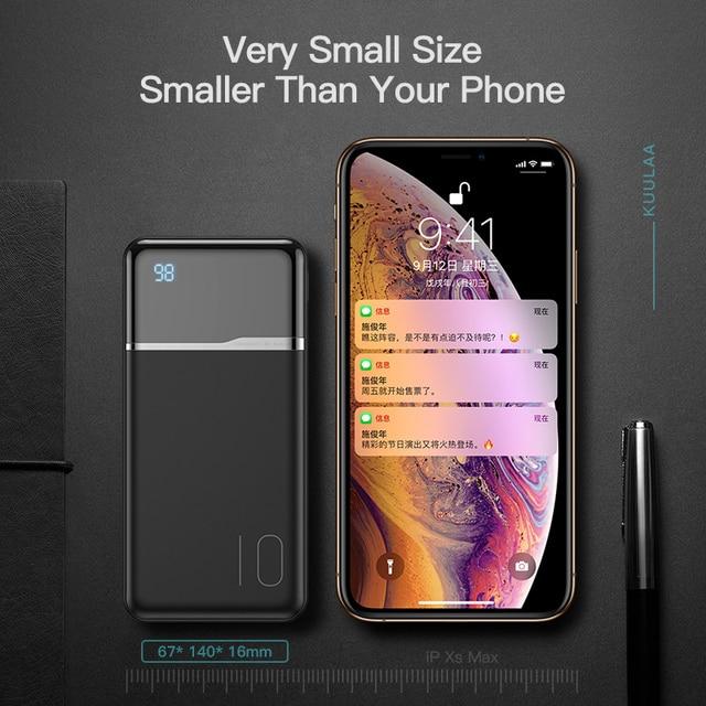KUULAA Banca di Potere 10000 mAh Ricarica Portatile PowerBank 10000 mAh USB PoverBank Batteria Esterna del Caricatore Per Xiaomi Mi 9 8 iPhone 2