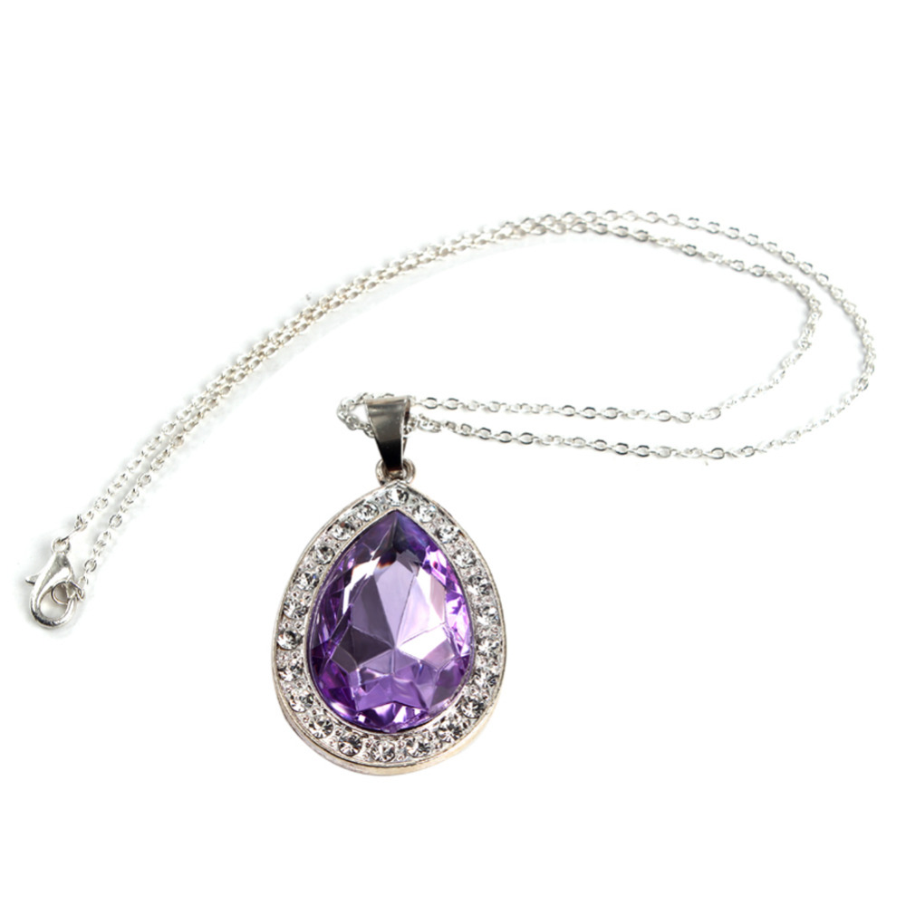 power new purple item wrapped stone amethyst crystal necklaces silver necklace wire chakra