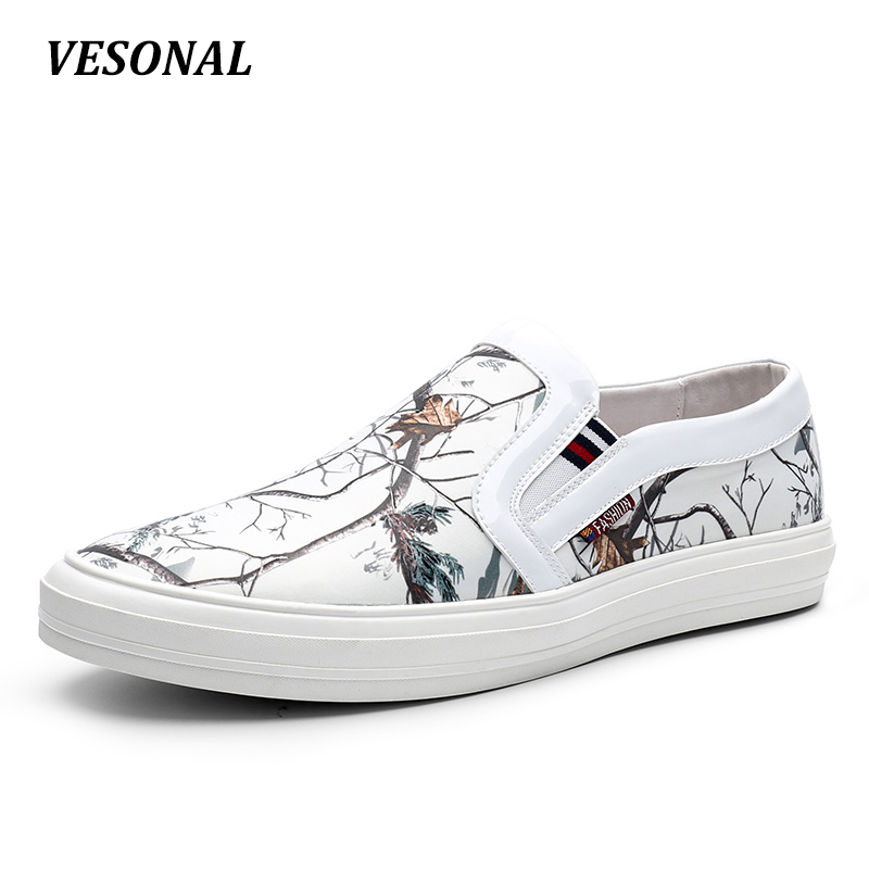 VESONAL 2017 Brand Top Quality Loafers Men Shoes Fashion Personality Trees Print Fabric PU Patchwork Mens Shoes Casual SD7002 vesonal 2017 top quality lycra outdoor ultralight slip on loafers men shoes fashion stripe mens shoes casual sd7005