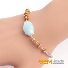 2mm crystal & natural stone( Aquamarines tiger eye fire Agat e ) bracelet For Party Gift Women Birthday Present Gem-inside