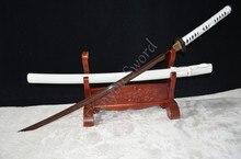 Red Damascus Folded Steel Maru Blade Japanese Samurai Katana Practical Sword Sharp Knife Ready for Battle FULL TANG