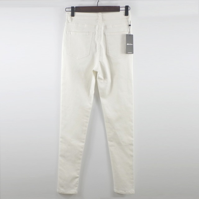 Shortened White High Waist Stretch Jeans Female Pants