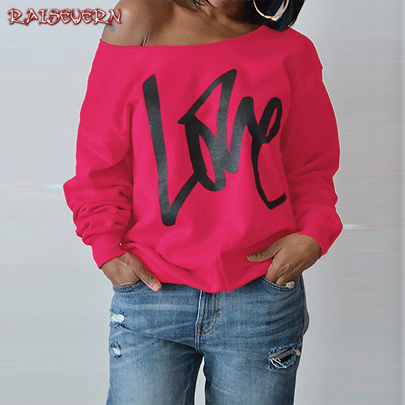 RAISEVERN Women Sexy One Shoulder Sweatshirts Love Letter Print Autumn Female Young Girl Hip Hop Sweatshirt Fashion Loose Tops
