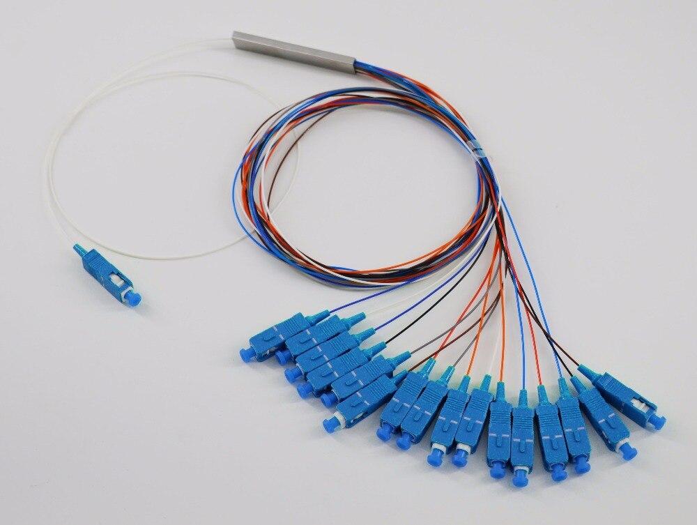 Free Shipping 0.9mm Steel Tube 1x16 Mini SC/UPC Connector 1:16 16 Ports Fiber Optical PLC Splitter