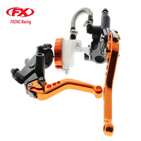 FX CNC 22mm Universal Adjustable Hydraulic Brake Cable Clutch Levers Master Cylinder Reservoir Set For HYOSUNG