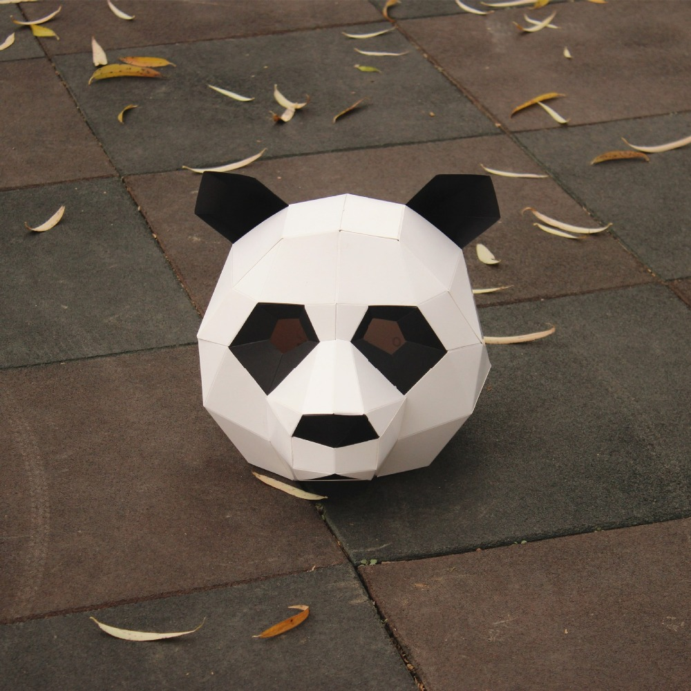 NEW Panda paper DIY material manual creative Head Mask Party Masquerade show props lovely Panda tide
