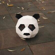 Новая бумага панда DIY Материал ручная креативная вечерние голова Маска Вечеринка Маскарад шоу реквизит прекрасная панда прилив ручная работа прекрасная маска