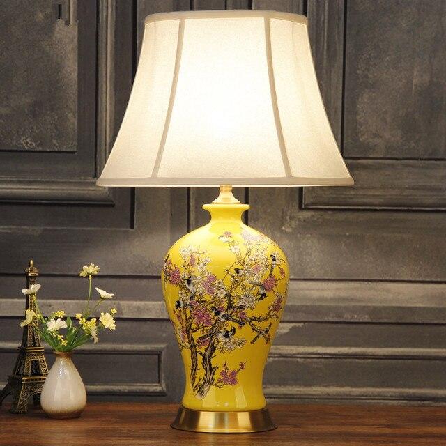 Vintage Chinese Porcelain Ceramic Table Lamp Bedroom Living Room Wedding Jingdezhen Deco