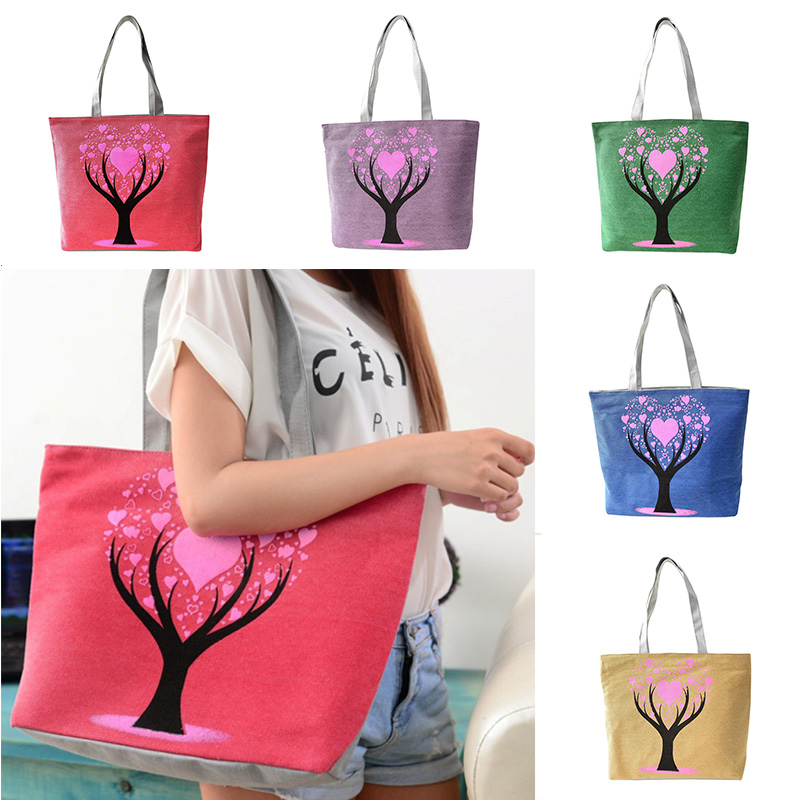 f36577a26252 Love Tree Canvas Handbag Preppy School Bag for Girls Women s Handbags Cute  Bags LT88-in Shoulder Bags from Luggage   Bags on Aliexpress.com