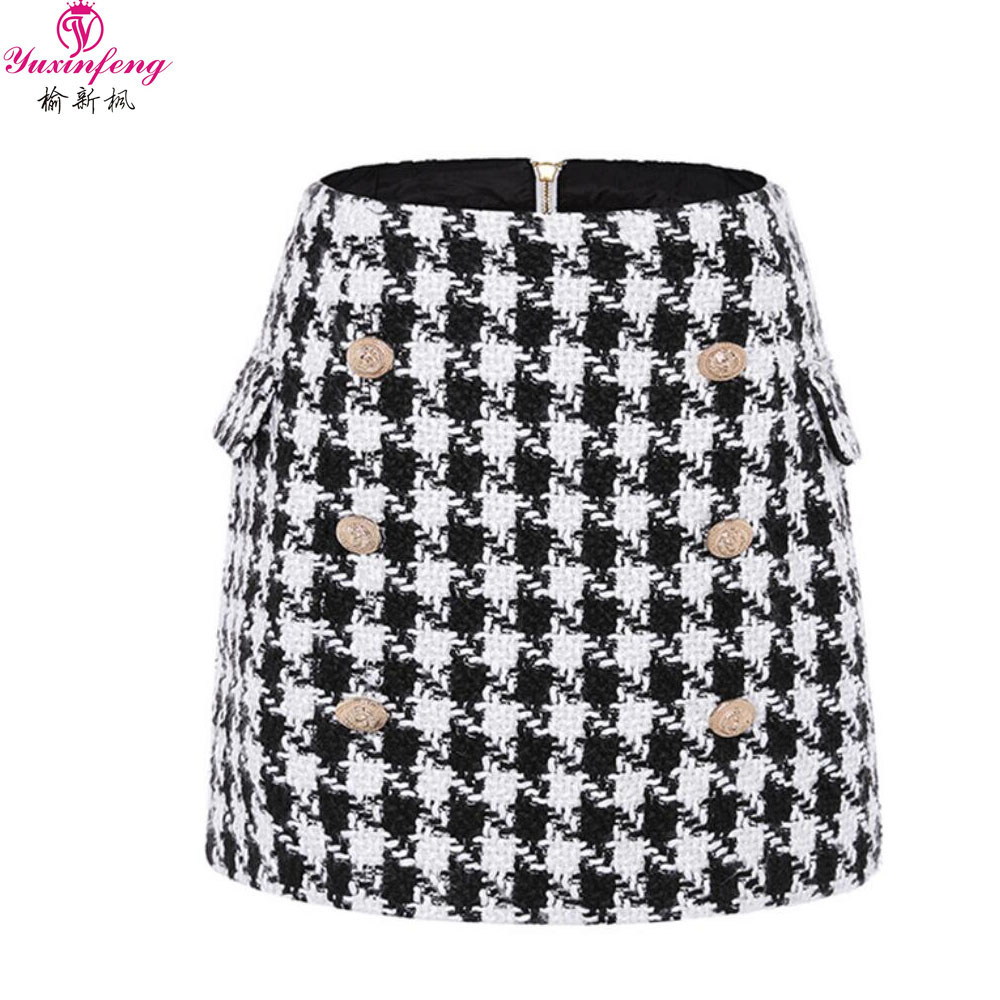 Yuxinfeng New Fashion Autumn Winter Euro Wool Tweed Skirt Women Double Breasted Golden Button Sexy Short Plaid Mini Skirts Lady