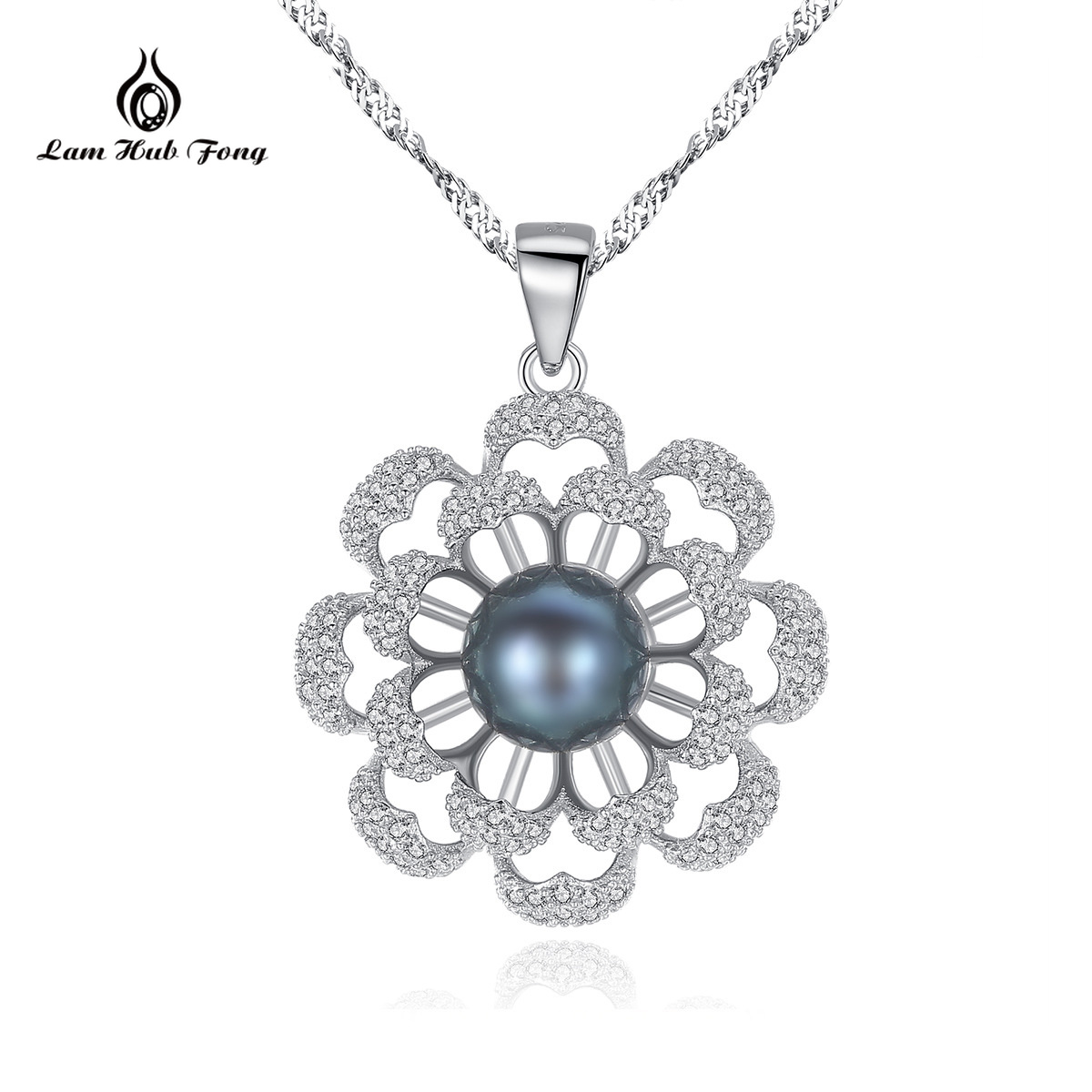 925 Sterling Silver Flowers Pendant Necklace Natural Freshwater Pearl Jewelry CZ Fine Jewelry Valentine's Day Gift