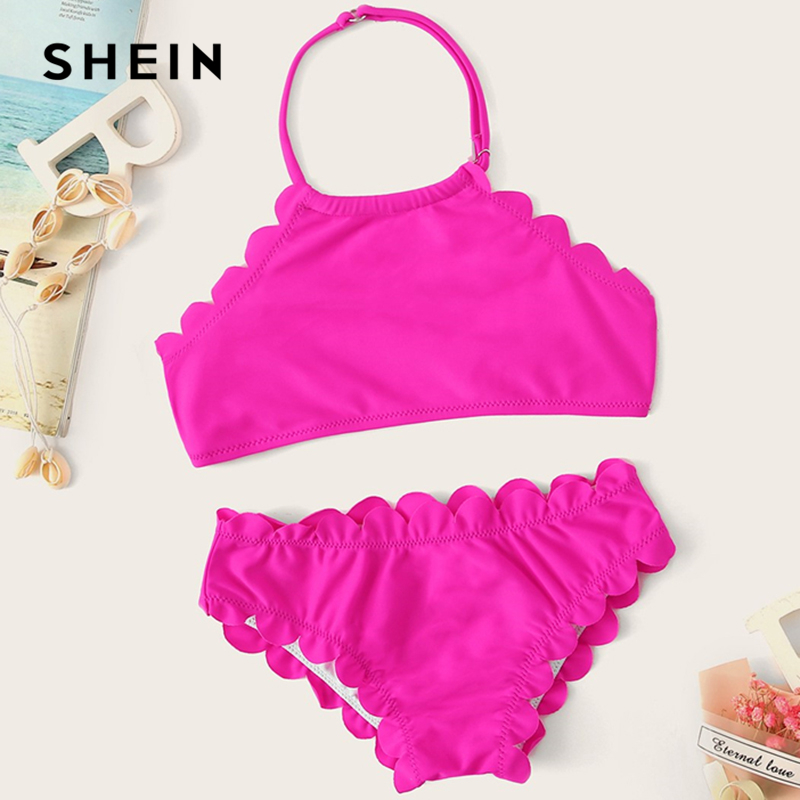 SHEIN Kiddie Hot Pink Solid Scallop Trim Halter Girls Bikini Set Kids Swimwear 2019 Summer Sleeveless Casual Child Swim Suit Set new special design of high quality women swimsuit bathing suit women swimwear brazilian bandage high neck bikini set s m l