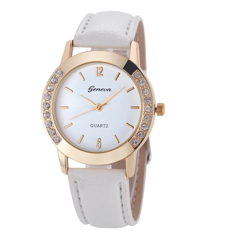 Luxury Diamond Round Dial Leather Analog Quartz Wrist Watch