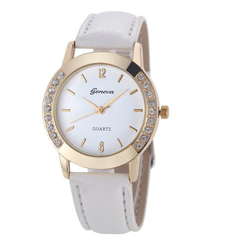 Luxury Diamond Round Dial Leather Analog Quartz Wrist Watch