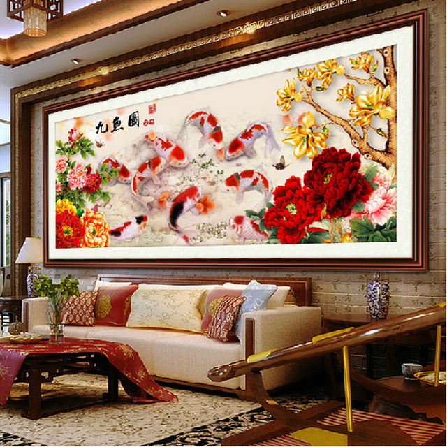 5d Diy Diamond Painting Cross Stitch Diamond Embroidery Nine Fish