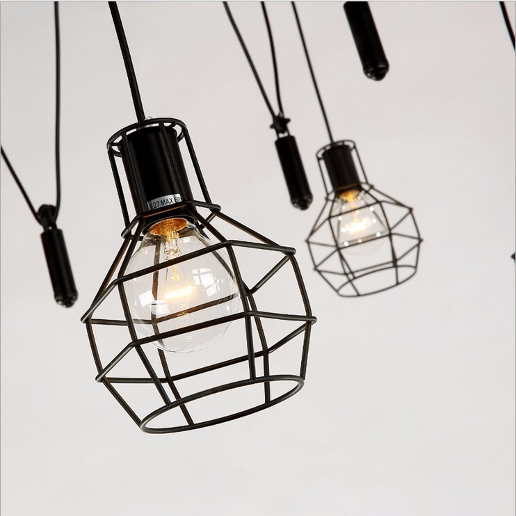 Nordic Industrial minimalist restaurant bar hotel cafe living room chandelier,American country creative small elevator cage lamp lumifor lrt wt4 suh