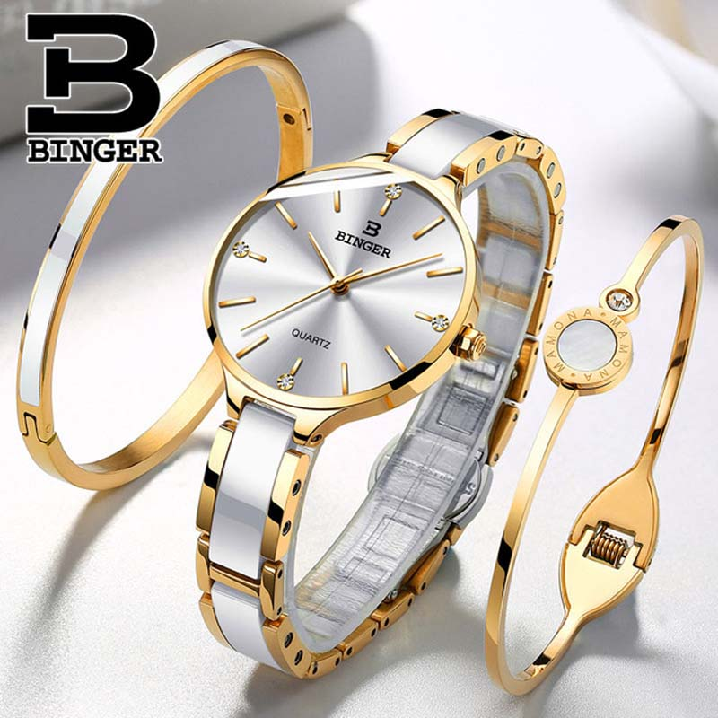 Switzerland BINGER 7MM Ultra-Thin Quartz Watch Women Fashion Rose Gold Ceramic Wristwatches Ladies Waterproof Montre Femme 2019