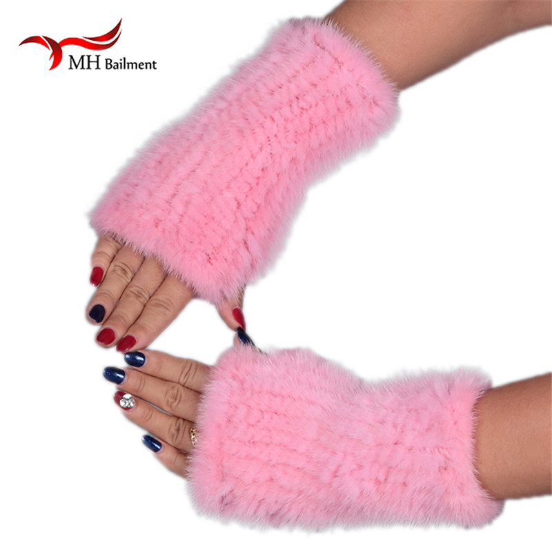 Real Mink Fur Gloves Knitted Women Mittens Fashion Winter Style Gloves DI8