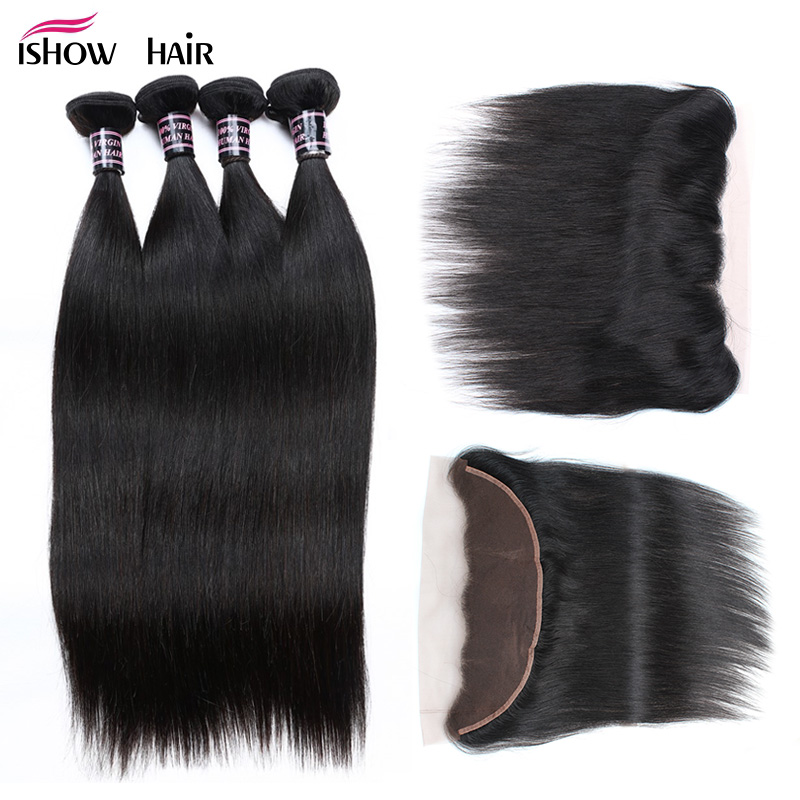Ishow Indian Straight Hair Bundles With Closure Non Remy Human Hair 4 Bundles With Closure Free PartEar to Ear Lace Frontal 13X4