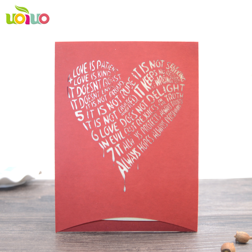 pink heart pocket 10Pcs Sample Laser Cut Wedding Invitation Cards ...